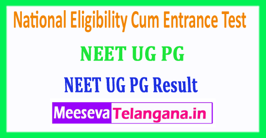 NEET PG UG Results 2018 National Eligibility Cum Entrance Test 2018 Results Download