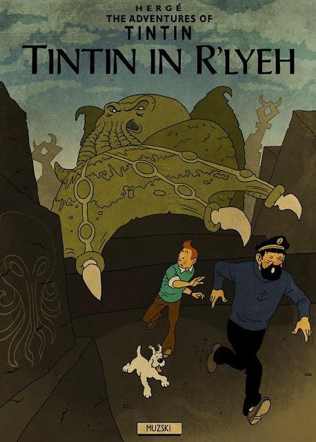 Meme de humor sobre Tintín y Cthulhu