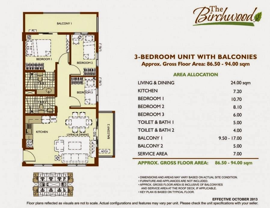The Birchwood 3-Bedroom Unit 86.50-94.00 sqm