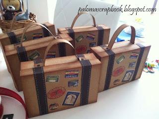 lembrancinha festa viagem volta ao mundo, maleta de viagem vintage em papel kraft