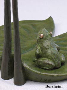 Bronze Frog detail of sculpture by Kelly Borsheim
