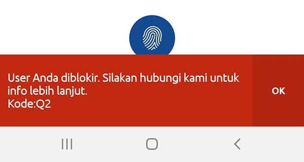 Penyebab User ID BRI Internet Banking Terblokir Kode: Q2