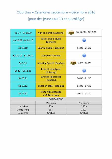 Télécharger calendrier