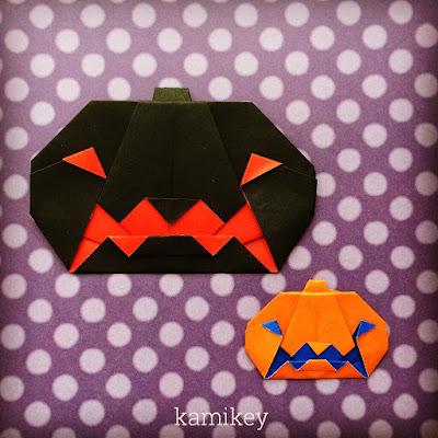 折り紙でハロウィンのかぼちゃおりがみでジャックオーランタン