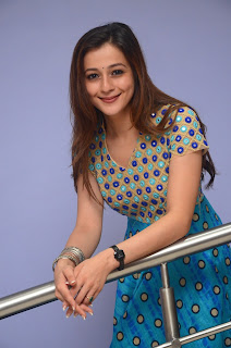 Priyal Gor Cute Blue Anarkali Gown at Chandamama Movie Press Meet