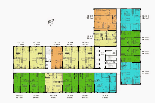 Mặt bằng thiết kế điển hình sàn căn hộ Eco Dream