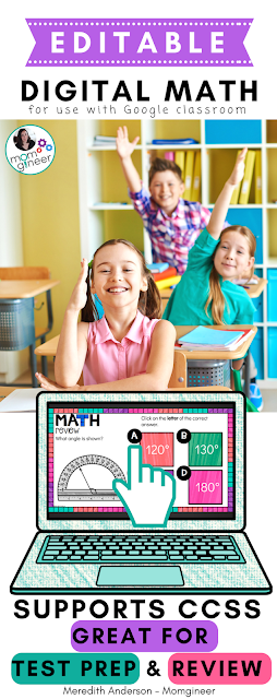 4th Grade Math for Google Classroom - Editable Digital Math that is perfect for review and test prep. | Meredith Anderson - Momgineer