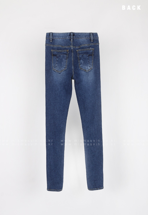 Lightly Distressed Faded Washed Skinny Jeans