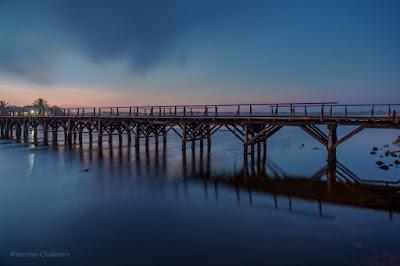 Copyright Vernon Chalmers: Wooden Bridge After Sunset - Woodbridge Island Cape Town