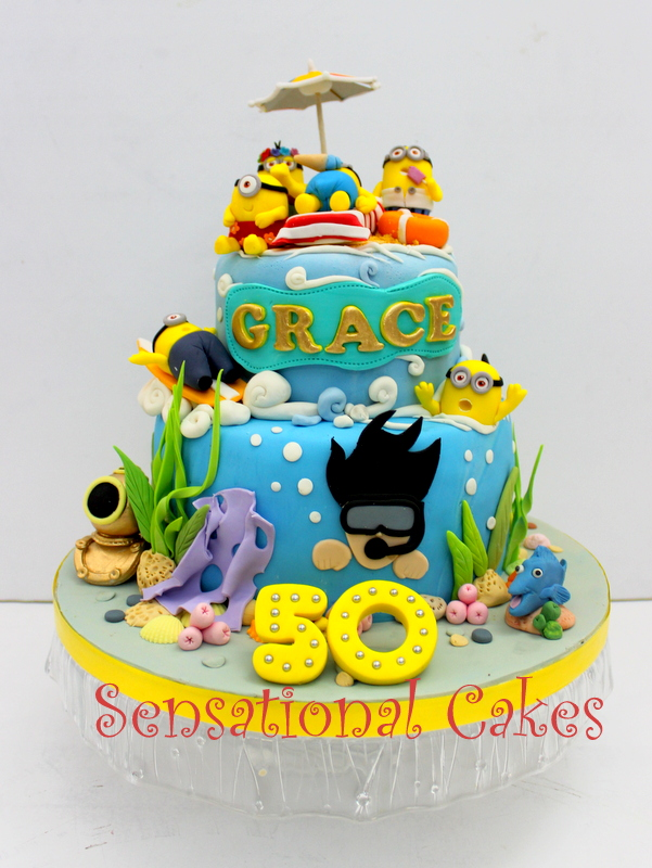 Minion Beach Aloha Theme Cake Singapore Scuba Dive Underwater Treasure Snorkeling Fun At Relax Chillout Cakes Customized