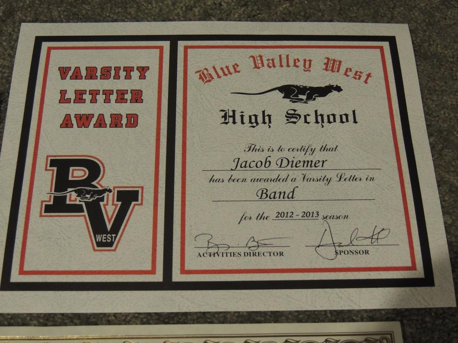 5.13+Jakes+Varsity+letter+certificate Edible Varsity Letter Certificate Template on