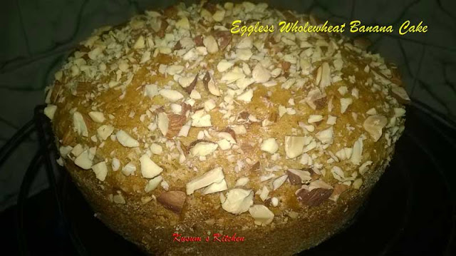 Eggless wholewheat banana cake with nuts