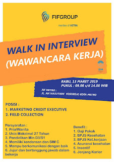 WALK IN INTERVIEW PT. FIF GROUP/ PT. Swakarya insan mandiri