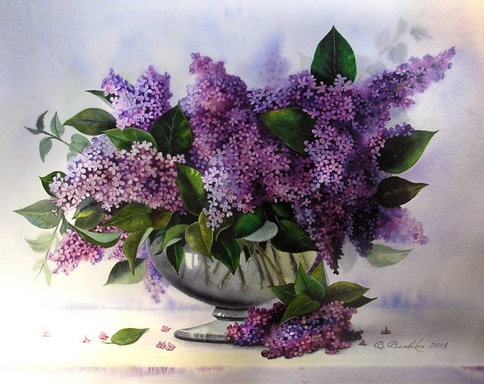 Акварельные рисунки цветов. Валентина Валевская 19