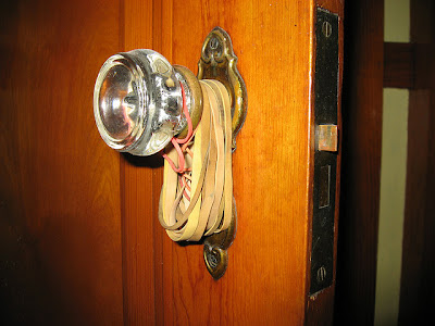 rubber bands on a doorknob