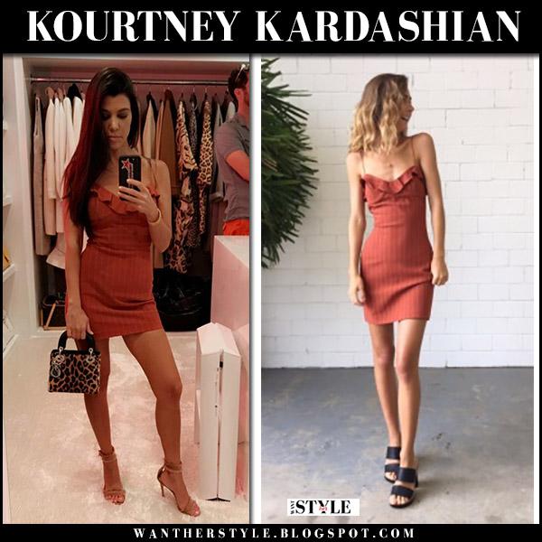 Kourtney Kardashian in dark orange mini dress from Bec and Bridge celebrity august 23 2017