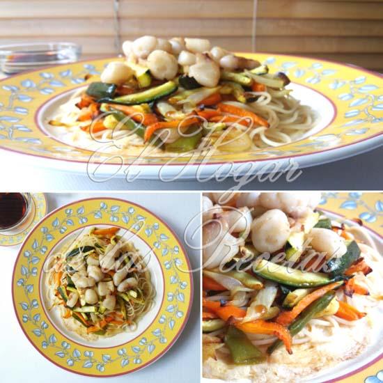 Sepia Oriental con verduras y noodles