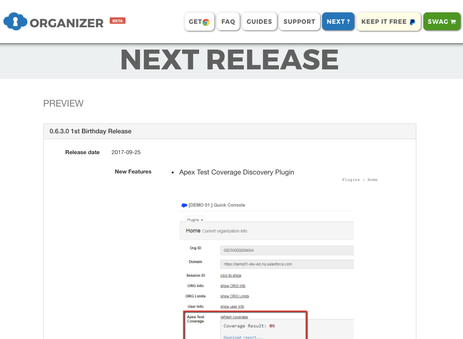 Salesforce / Chrome Extension] Happy birthday to the ORGanizer: 1