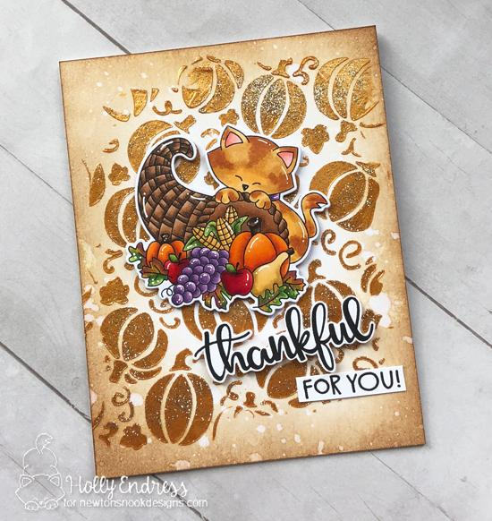 Thanksgiving cat card by Holly Endress | Newton's Cornucopia Stamp Set and Pumpkin Patch Stencil by Newton's Nook Designs #newtonsnook #handmade
