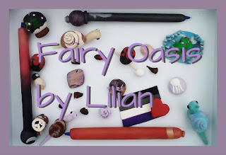 Purple border, inside border is a variety of polymer clay items.  Text reads: Fairy Oasis by Lilian