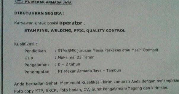 Portal Info Lowongan Kerja Lowongan Kerja Pt Mekar Armada Jaya
