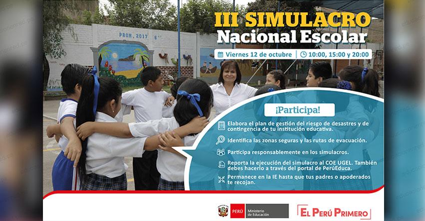 UGEL Santiago de Chuco se alista para el «III Simulacro Nacional Escolar»