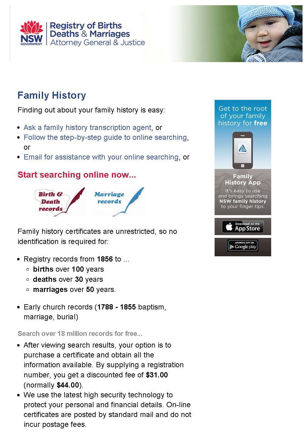 Website Wednesday - NSW Registry of Births, Deaths & Marriages