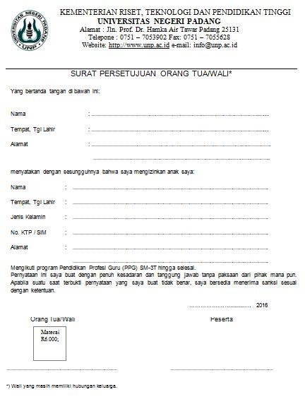 Contoh Surat Persetujuan Orang Tuawali Pustaka Pandani