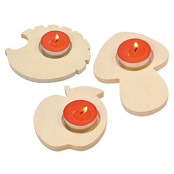 bastelwaren kaufen teelichthalter aus holz herbstdeko. Black Bedroom Furniture Sets. Home Design Ideas