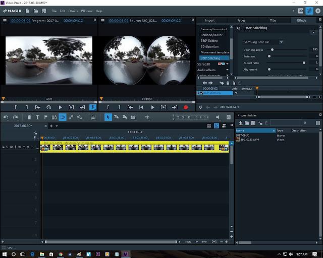 Magix Video Pro X video editor can automatically stitch 360