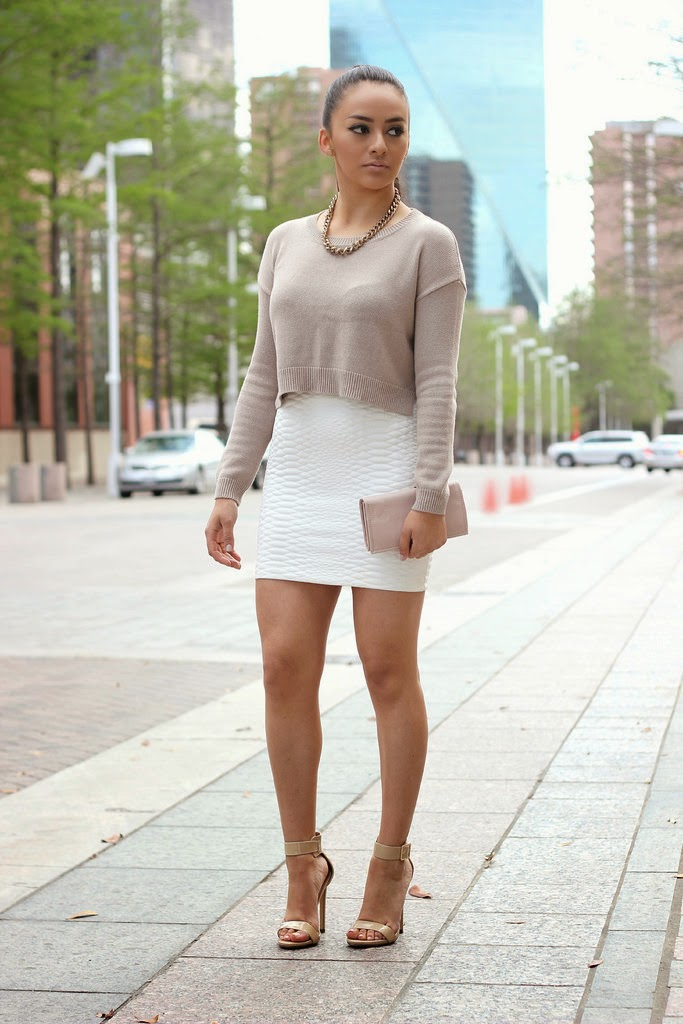 4bfb270e493 Cropped Sweater and Mini Skirt.