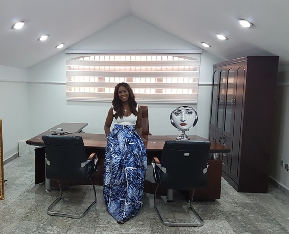 Linda Ikeji in her media house office
