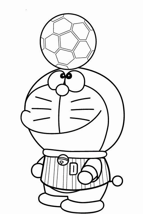 Tranh cho bé tô màu Doraemon làm cầu thủ đá bóng