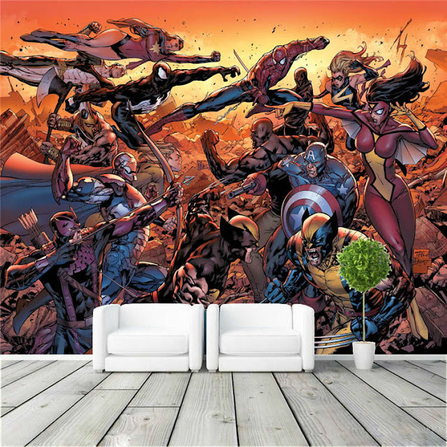 Avengers wall mural childrens room 3D marvel comics Photo Wallpaper Kids Boys super hero civil war