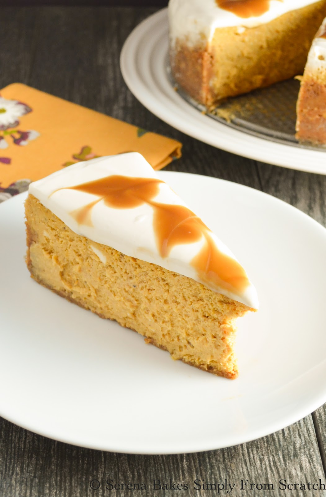 Pumpkin Cheesecake With Butterscotch Swirl is a fun twist on a classic dessert!
