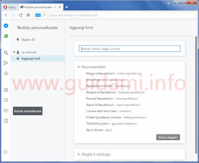 Opera 54 schermata Notizie personalizzate