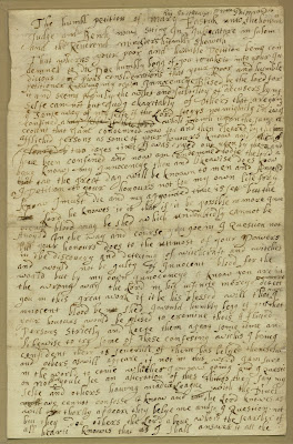 Climbing My Family Tree: Mary Easty's Post-conviction Petition, 1692,  front