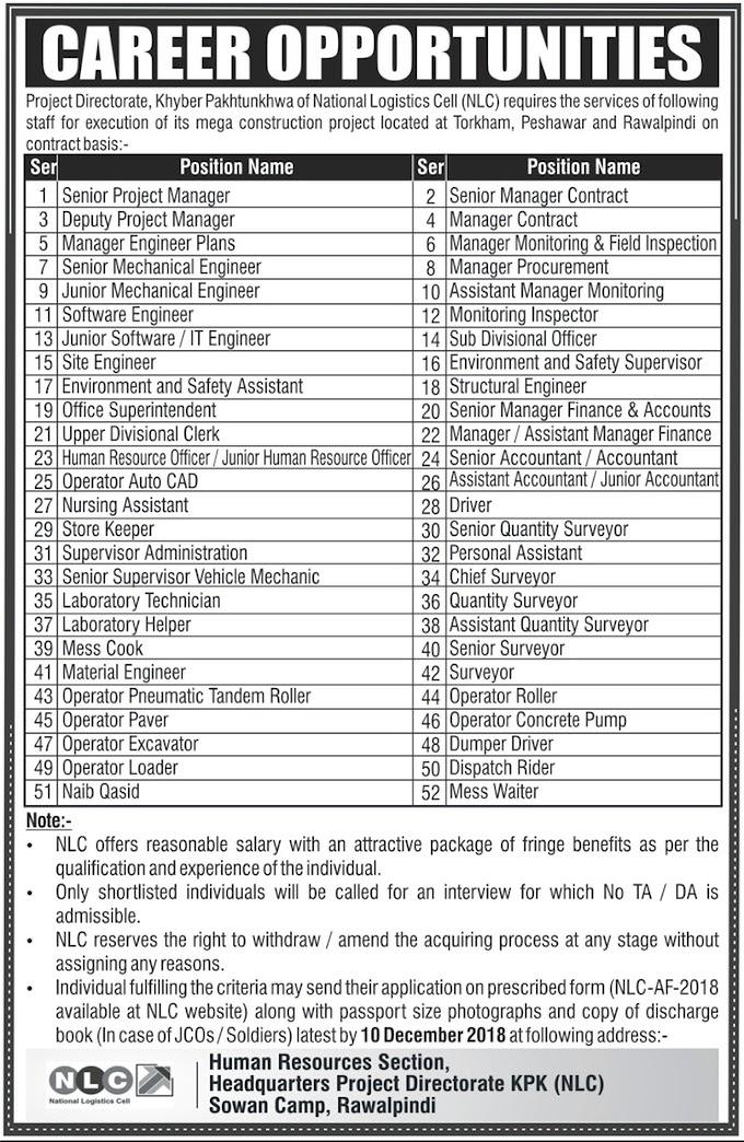 (52 Vacancies) National Logistic Cell Jobs 2018