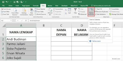 Rumus Excel Memisahkan Nama Depan dan Belakang