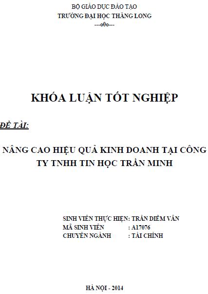 Nâng cao hiệu quả kinh doanh tại Công ty TNHH Tin học Trần Minh