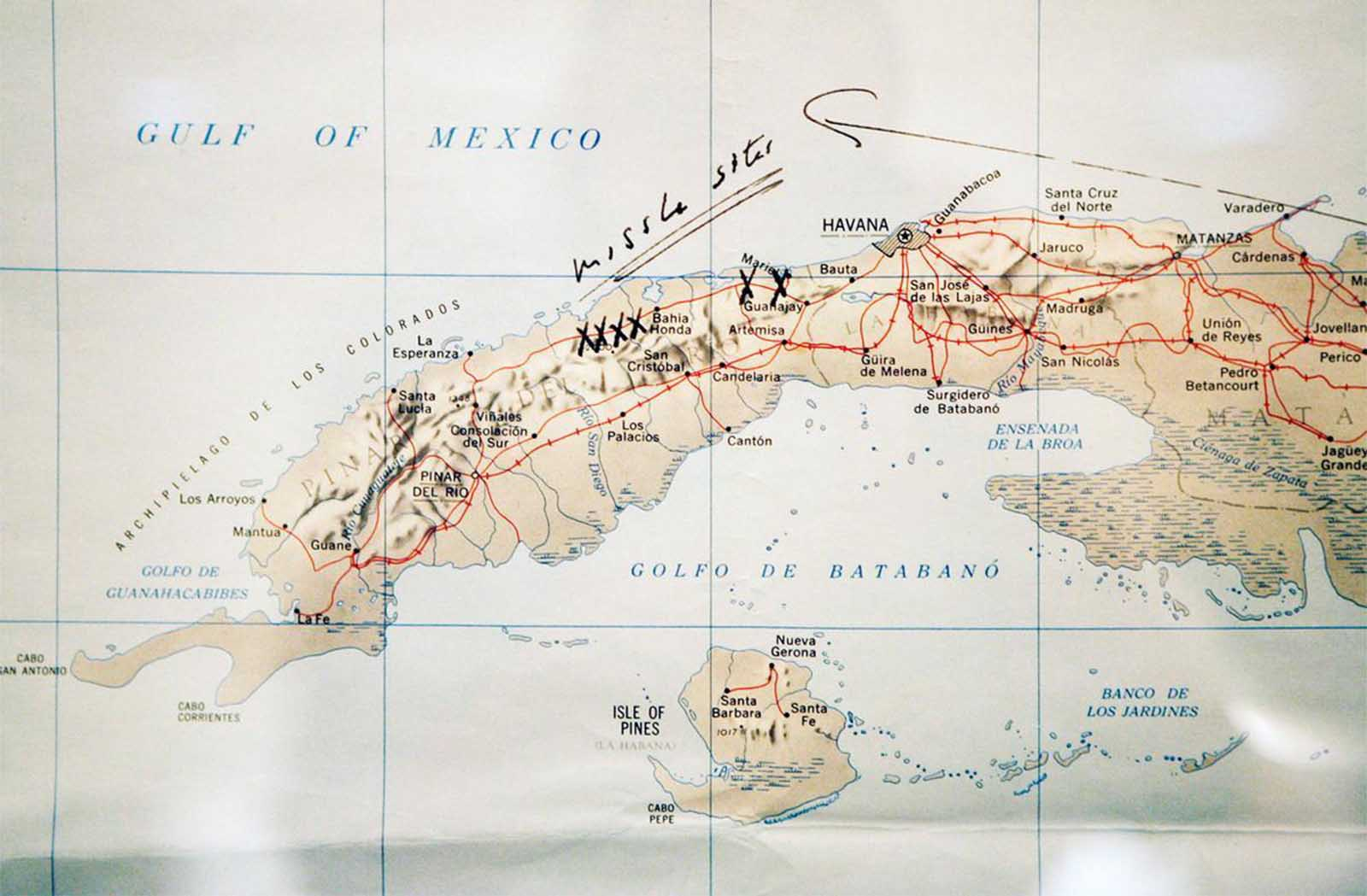 A map of Cuba annotated by former U.S. President John F. Kennedy, displayed for the first time at the John F. Kennedy Library in Boston, Massachusetts, on July 13, 2005. Former President Kennedy wrote