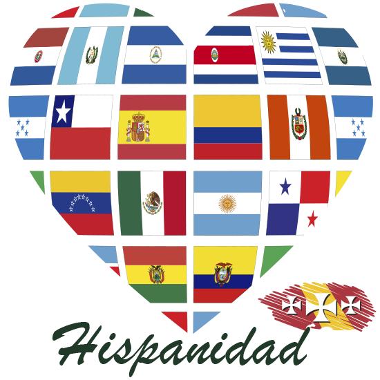 Corazón con banderas del Día de la Hispanidad