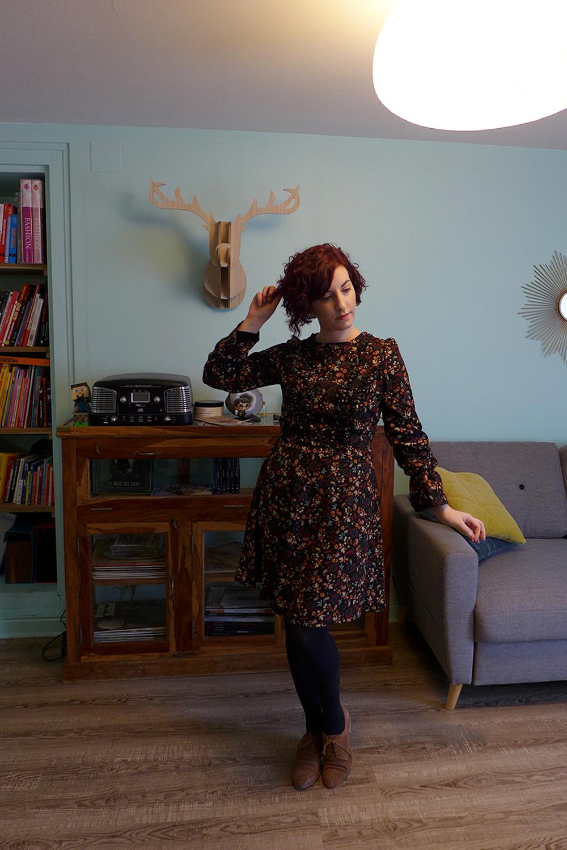 look vintage rétro casual, robe morgan fleurie