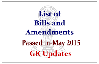 List of Bills and Amendments that Passed in May 2015
