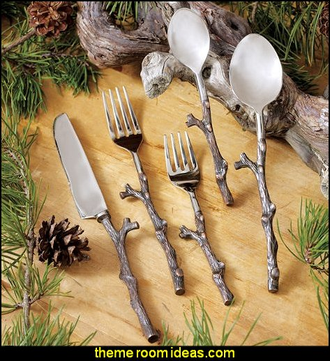 Twig Flatware  kitchen accessories - fun kitchen decor - decorative themed kitchen  - novelty mugs - kitchen wall decals - kitchen wall quotes - cool stuff to buy - kitchen cupboard contact paper -  kitchen storage ideas - unique kitchen gadgets - food pillows