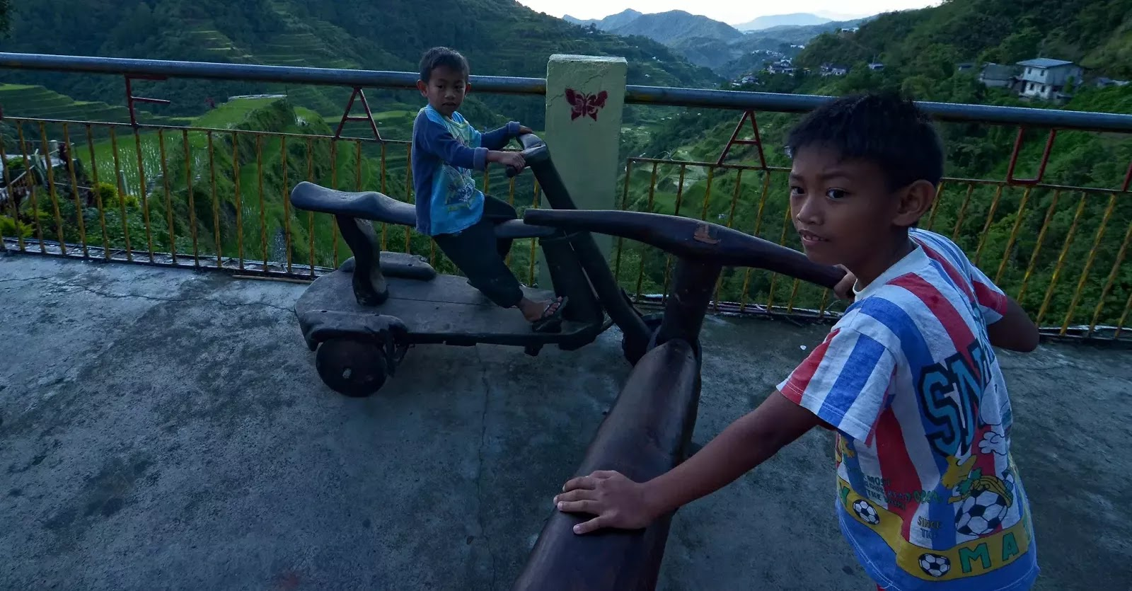 Young Kids Wooden Bike Riders of Banaue Ifugao Cordillera Administrative Region Philippines