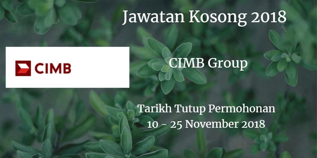 Jawatan Kosong  CIMB Group 10 - 25 November 2018
