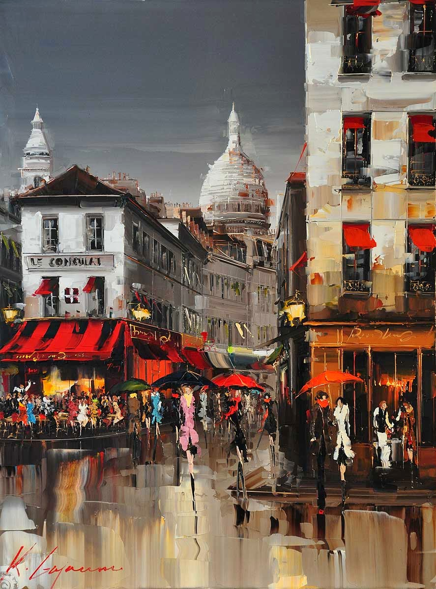 33-Montmartre-Kal-Gajoum-Paintings-of-Dream-Like Cities-of-the-World-www-designstack-co