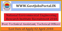 National Environmental Engineering Research Institute Recruitment 2018- Technical Assistant, Technical Officer