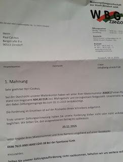 WBG Zirndorf Zahlungserinnerung